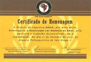 Certificado de Homenagem - Projeto Capoeira AAZIZ